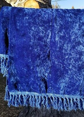vintage sears twin velvet bedspread with fringe. royal blue