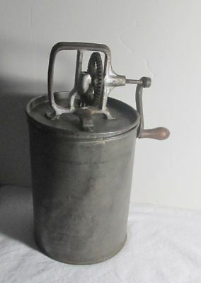 Antique Steel Metal Canister Hand Crank Butter Churn w/ Wooden Handle