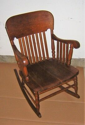 Superb Antique Tiger Oak Rocking Chair Heywood Brothers Wakefield Ncnpc Chair Design For Home Ncnpcorg