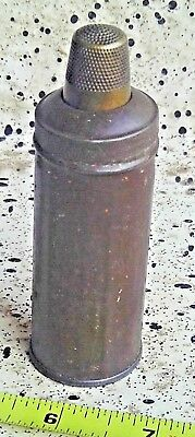 """Vintage Military Sewing Tin Can Case Kit With Thread Wood Spools Inside 3 5/8"""""""