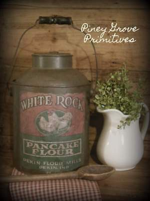 Primitive Antique Reclaimed Dark Tin Cream Pail White Rock Pancake Flour Prop