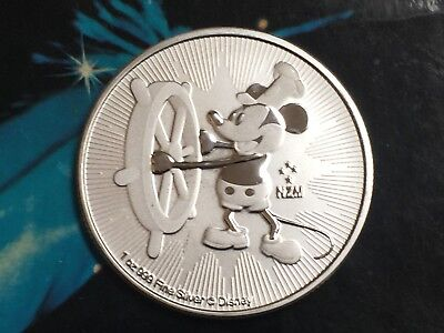 Mickey Mouse Steamboat Willie Coin, 1 ounce, 99.99% PURE SILVER, BU condition