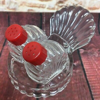 Salt & Pepper Shakers Clear Glass Shell Red Lid & Clam Shell Holder Vtg 1950's