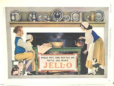 Large Maxfield Parrish Jell-O Advertisement – Polly Put the Kettle On    1924