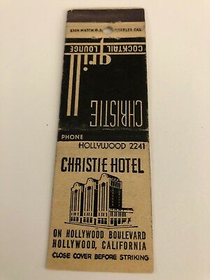 Vintage Matchbook Cover Christie Hotel  Hollywood California  On Hollywood Blvd.