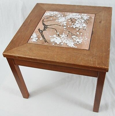 Damaged Brown Saltman John Keal Vintage Mid Century Walnut Enamel Side Table