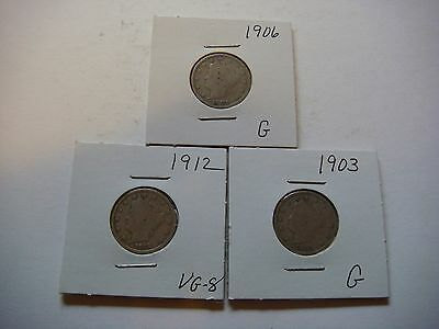 Lot of 3  Liberty Head V Nickel - five cent Coins 1903, 1906, 1912, Nice   #9595