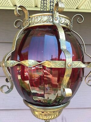 Vintage Antique Pull Cranberry Ruby Red Down Glass Hanging Hall Candle Lamp