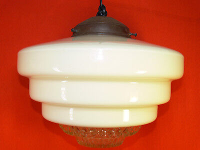 VINTAGE Art Deco LARGE Stepped Glass BEEHIVE LIGHT SHADE Depression Glass Centre