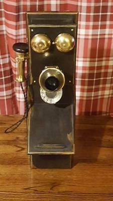 Antique Dial Wall Telephone Wood And Brass Shabby Chic Painted Black & Gold