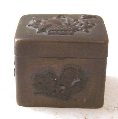 Japanese Mixed Metals Small Pill Snuff Trinket Box Fruit Bird Bronze Copper