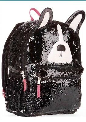 "Puppy Dog 2-Way Sequins Critter 16"" Backpack School Book Bag Tote"