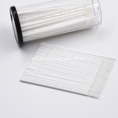 100 Pcs Dental Disposable Micro Brush Applicator Long Cylinder Bendable White