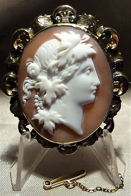 Fabulous Rare Antique Victorian Gold Young God Bacchus Sardonyx Shell Cameo Pin!