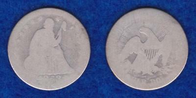 1853 Quarter Arrows At Date Rays On Reverse One Year Type  ---  Qlhv