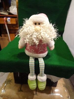 """Pink Santa Claus Shelf Sitter with Dangle Legs - Weighted Bottom - 15"""" - 9"""" Sit"""