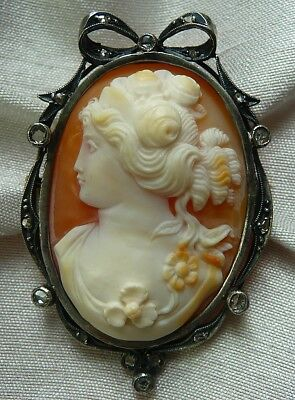 Fabulous Antique Victorian 14K 18 Diamond Sterling Shell Cameo Flora Pin Pendant