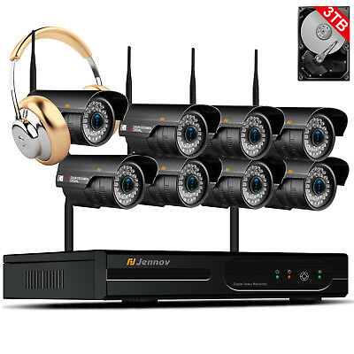 1080P 2MP 8CH Wireless Security Camera System Outdoor Wifi Home CCTV Audio Set