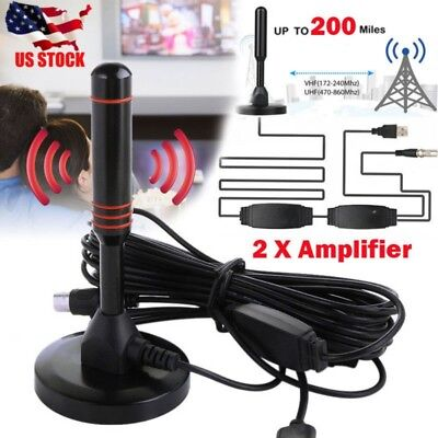 US Antenna 1080P TV Digital HD 200Mile Range Skywire Indoor 4K 16ft Coax Cable
