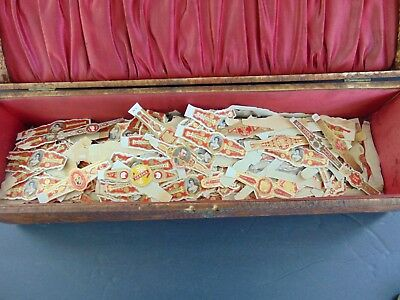 LARGE LOT OF ANTIQUE CIGAR LABELS in PYROGRAPHY DECORATED BOX
