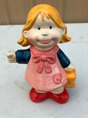 Vintage 1970's Piggy Bank Girl - Made In Taiwan - Ceramic