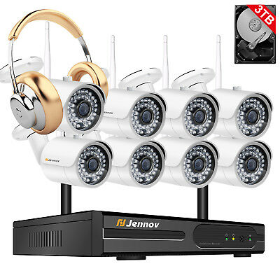 1080P 8CH NVR Wireless Security Camera System Outdoor Wifi Home CCTV Audio Set