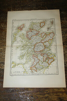 "Antique Original 1895 Map of Scotland 15"" x 10-1/2"""