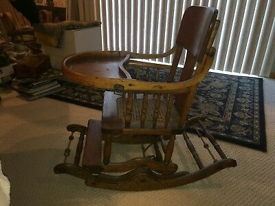 Antique High Chair - Rocker - Cane Seat & Back - Vintage