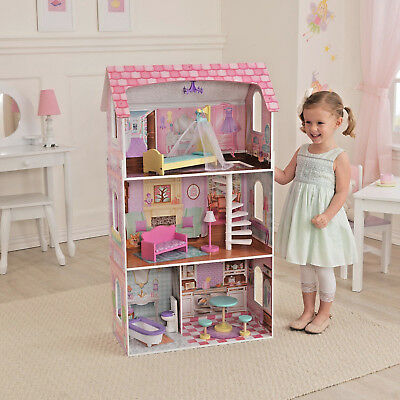 Penelope Wooden Pretend Play House Doll Dollhouse Mansion w/ Furniture