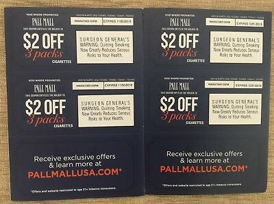 Pall Mall Cigarette Coupons $8.00