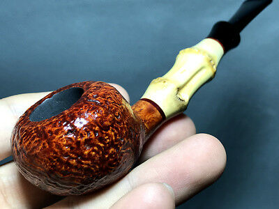Road Town Bamboo Apple Style Briar wood craft pipe ---- unsmoked