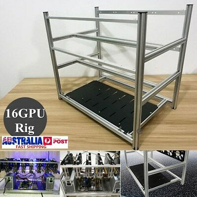 16 GPU Aluminum Stackable Open Air Frame Mining Miner Rig Case Crypto Coin ETH