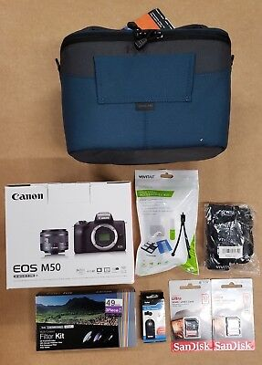 Canon EOS M50 Mirrorless Digital Camera with 15-45mm Lens (Black) & EXTRA