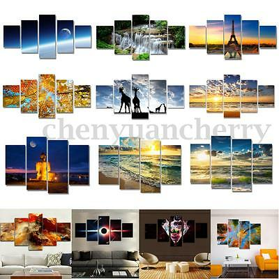 5PCS Unframed Modern Abstract Wall Moon Sunset On Canvas Animal Print Picture