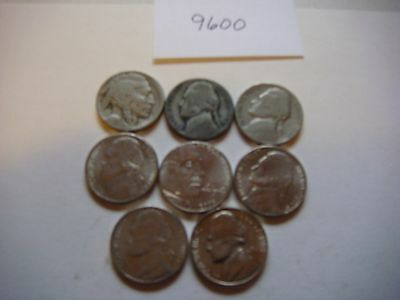 Lot of 8  Nickels U.S five cent Coins 1928D, 1943S ,1939, 2004D, 2005D   #9600