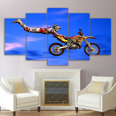 Framed New Motocross Limit Jumps Motorcycle Canvas Prints Painting Wall Art 5PCS