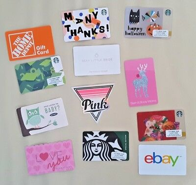 Starbucks Victoria's Secret Halloween PINK Gift Card LOT Bath Body Works $0 zero