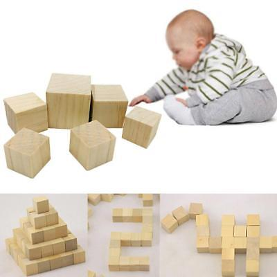Wooden Square Blocks Mini Cubes Embellishment Log Squares for Woodwork Craft DIY