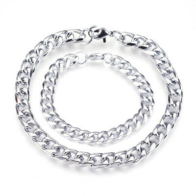 2 Size Heavy Stainless Steel Curb Wheat Chain Link Bracelet Men's Bangle Silver