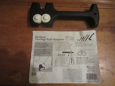 """McGown Firestone 2 Stage Knife Sharpener 7 3/4"""" Overall Black Polycarbonate EUC"""