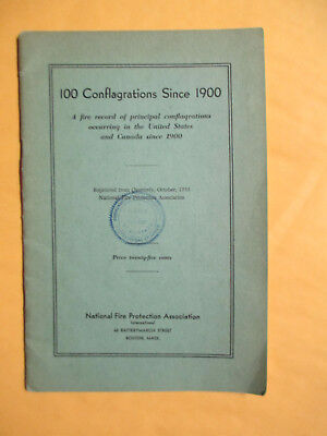"1935 National Fire Prevention Ass. Booklet ""100 Conflagrations Since 1900 Boston"