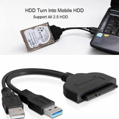 Hard Disk Driver SATA 7+15 Pin 22 To USB 2.0 Adapter Cable For 2.5 HDD Laptop AU