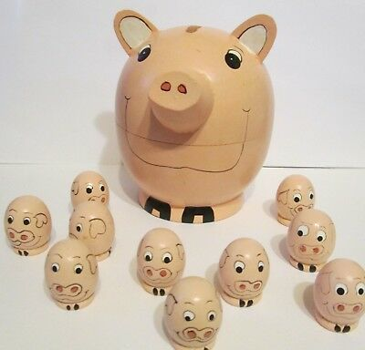 Wooden Nesting Pig with Piglets 11 Pc Set Great for Small Spaces RETIRED