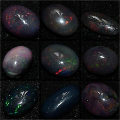 Top Natural Loose Gemstone Dyed Black Ethiopian Welo Opal Oval Shape Cab
