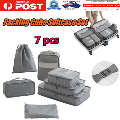 7pcs Travel Organizer Storage Bag Case Shoes Packing Cube Pouch Luggage Bags OZ