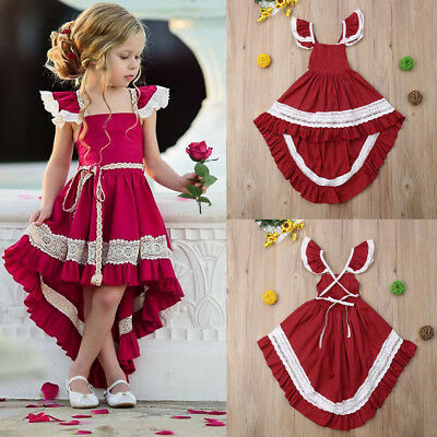 Vintage Toddler Kid Baby Girl Ruffle Dress Princess Dresses Outfit With Bowknote