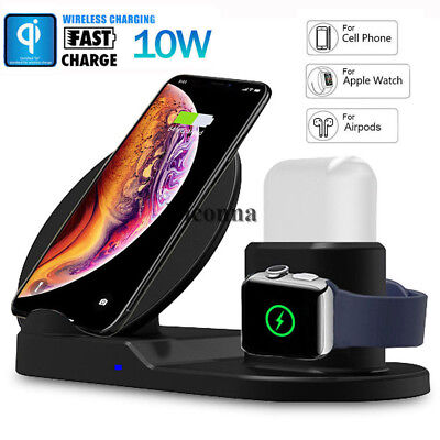 3in1 Qi Wireless Fast Charger Pad For Apple Watch AirPods iPhone Xs Max Samsung