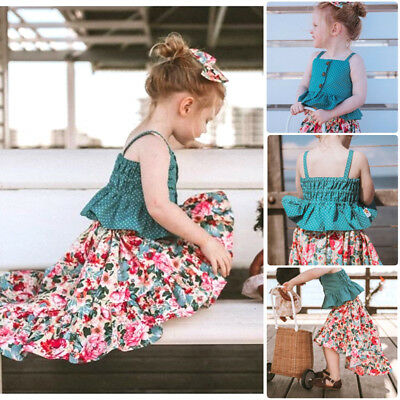 AU Toddler Kids Baby Girls Princess Floral Dot Top Skirt Dress Outfits Clothes