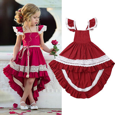 AU Vintage Toddler Kid Baby Girl Ruffle Dress Princess Birthday Party Long Dress