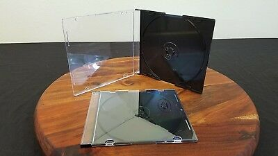 10 New Single Slim Black CD DVD Jewel Case Box 5.2mm
